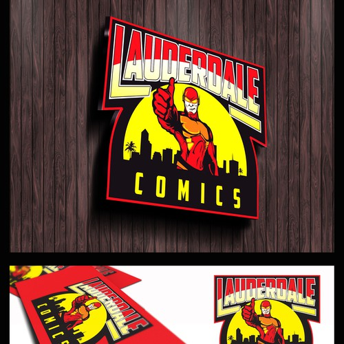 Comic logo with the title 'Logo Design for a hip, modern, comic book and game shop in South Florida!'