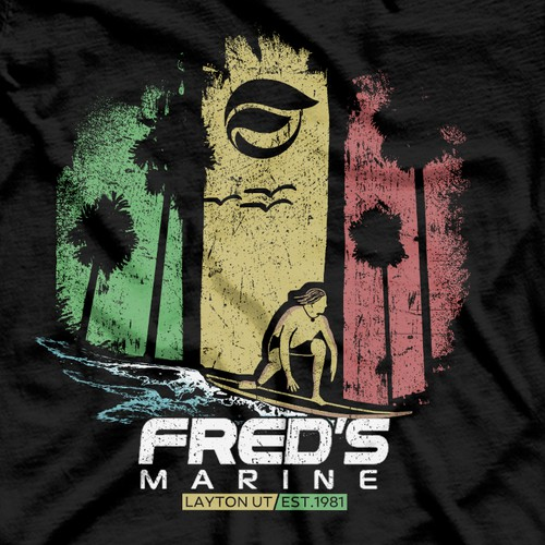 Surf design with the title 'Fred`s Marine '