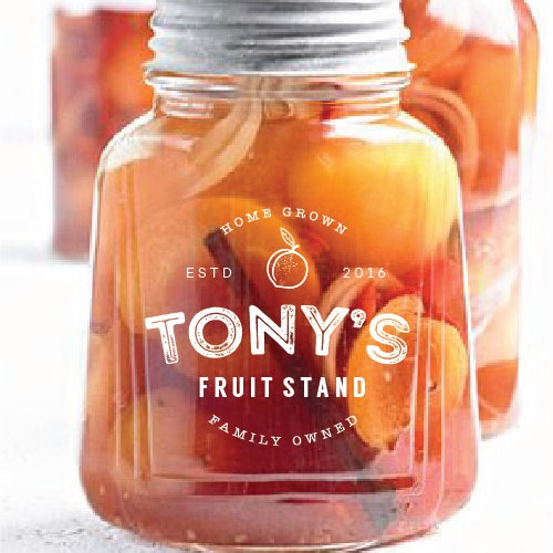 Jam design with the title 'Logo concept for Tony's fruit stand'