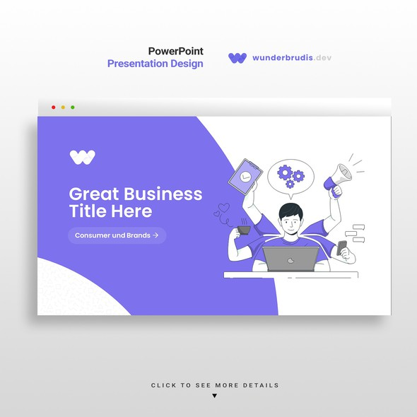 Startup design with the title 'Creative presentation pitch deck'