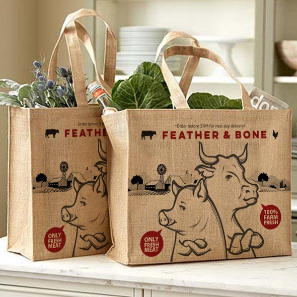 Shopping bag packaging with the title 'GROCERY BAG'