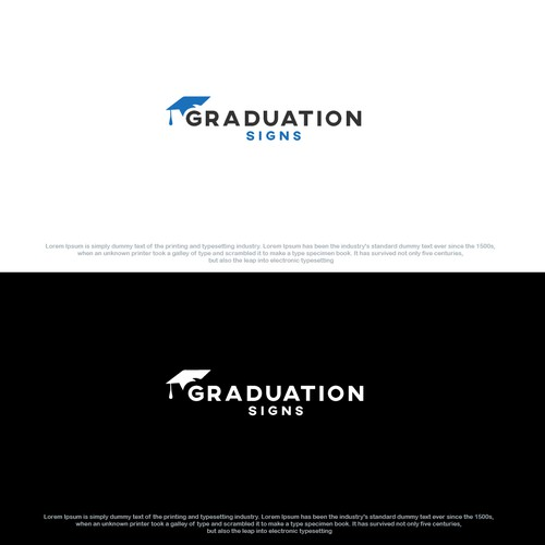 Graduation cap design with the title 'Combination mark Graduation Logo'