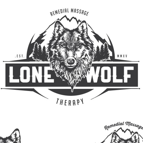 Pine tree design with the title 'Bold vintage logo for a Lone Wolf, a massage therapist'