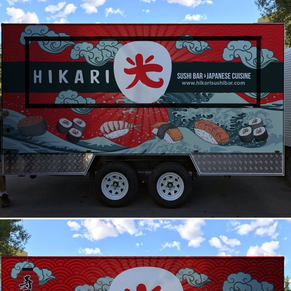 Japanese restaurant design with the title 'Hikari japanese sushi food truck'