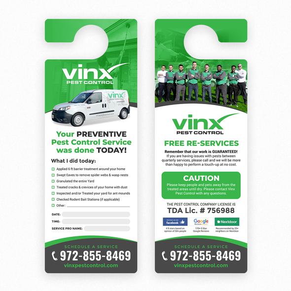 Door hanger design with the title 'Vinx Pest Control'