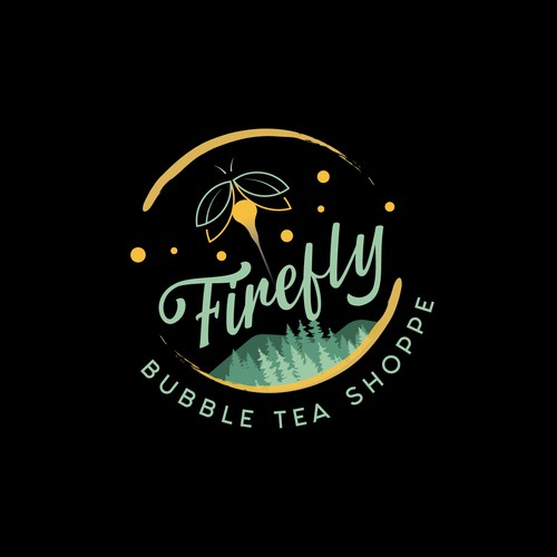 Bubble tea design with the title 'Firefly Bubble Tea Logo'