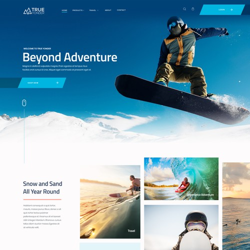 Snowboarding design with the title 'Design for Snow & Surf website'