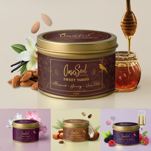 High-end design with the title 'Candle labels collection'