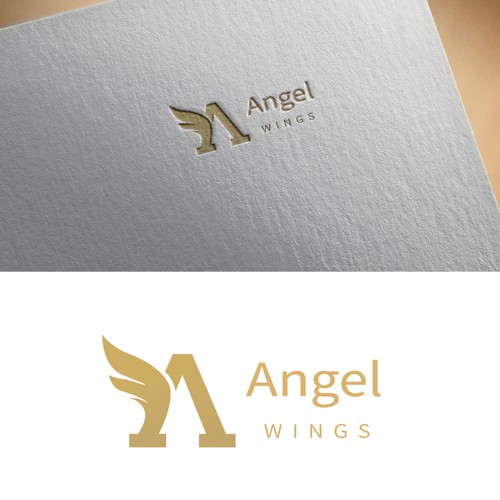 Company logo with the title 'Angel Wings Logo Design'