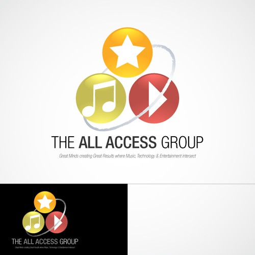 Music note logo with the title 'Logo Re-design for The All Access Group'