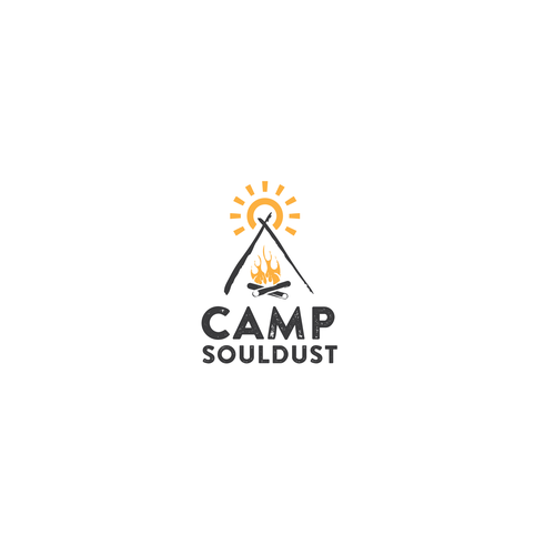 Campfire design with the title 'Event logo for Camp Souldust'
