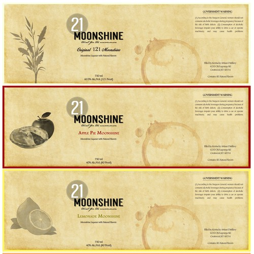Moonshine design with the title '21 Moonshine Labels'