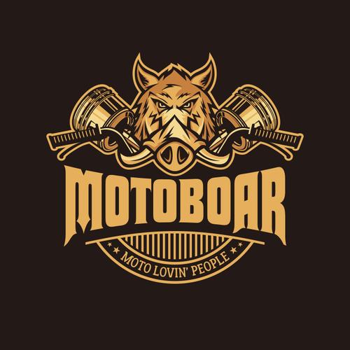 Automotive logo with the title 'Motoboar apparel logo design'
