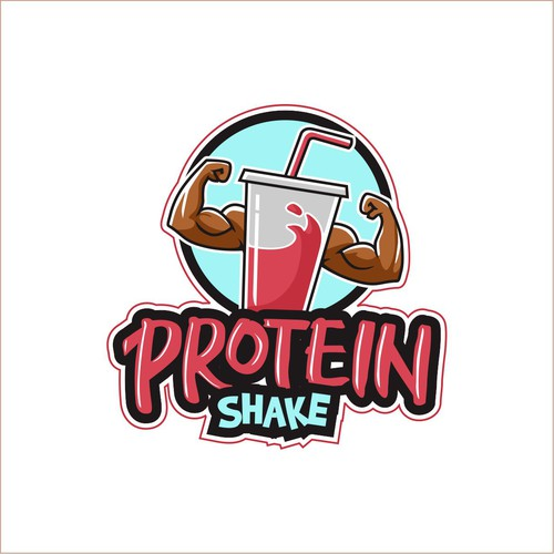 Sticker and decal logo with the title 'masculine logo for protein shake'