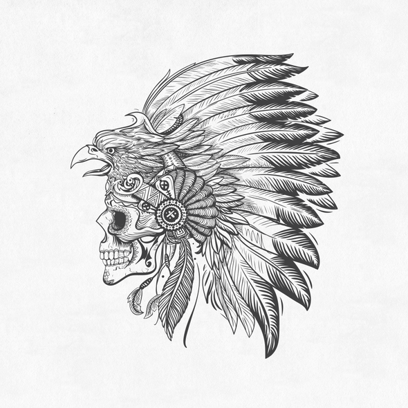 Eagle t-shirt with the title 'Provocative Mexican Headdress and Skull Design'