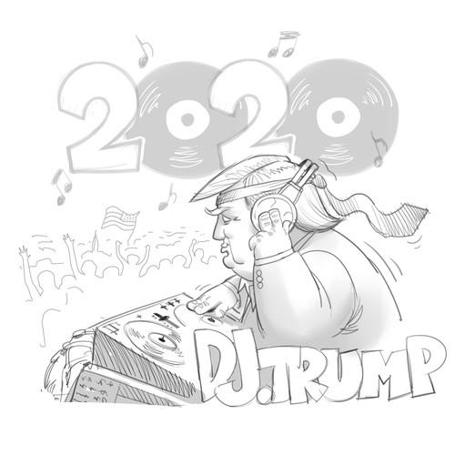 DJ artwork with the title 'DJ Trump t-shirt'