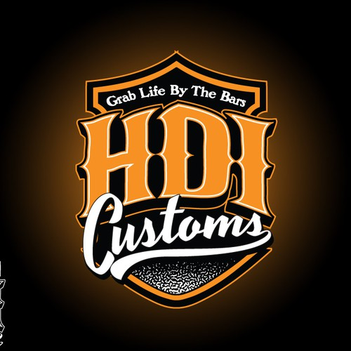Biker logo with the title 'HDI customs'