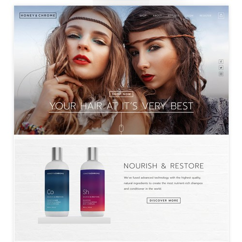 Cosmetics website with the title 'Honey & Chrome haircare products '