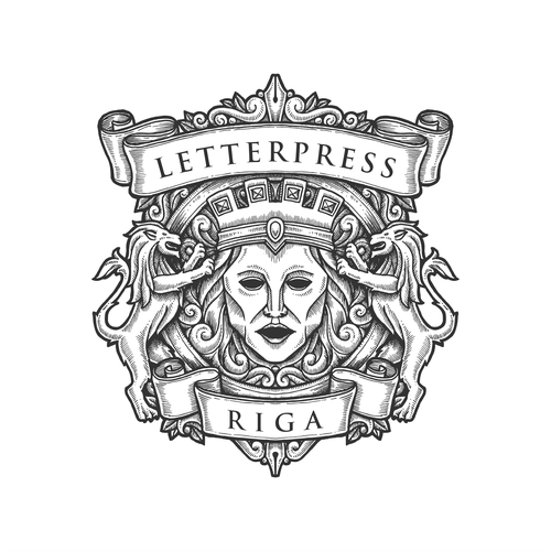 Engraved design with the title 'Engraved drawing badge for Letterpress Riga'