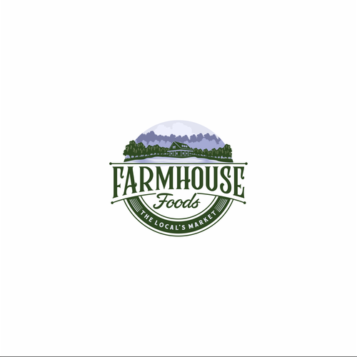 Farmhouse design with the title 'Farm House Foods Local's Market'