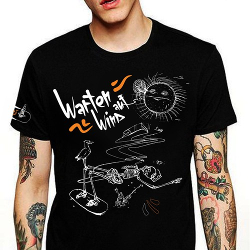 Skeleton t-shirt with the title 'Kitesurfer-Waiting for wind'