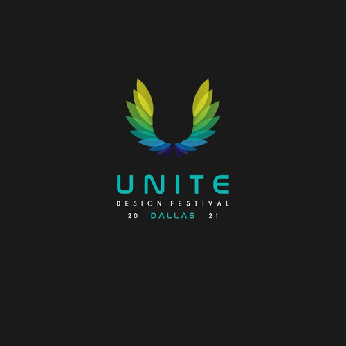 Blue and green logo with the title 'Unite'