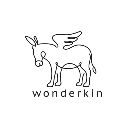 Donkey logo with the title 'A simple minimalistic donkey line-art logo'