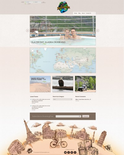 Hand-drawn website with the title 'Web Design - World Travel Blog'