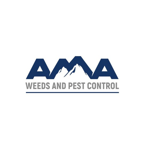 Pest control logo with the title 'AMA weeds and pest control logo design'