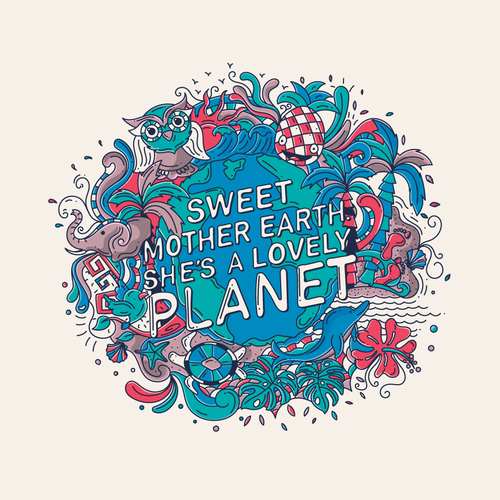 Environment artwork with the title 'Sweet Planet'