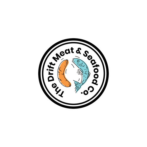 Sausage logo with the title 'The Drift Meat & Seafood Co.'