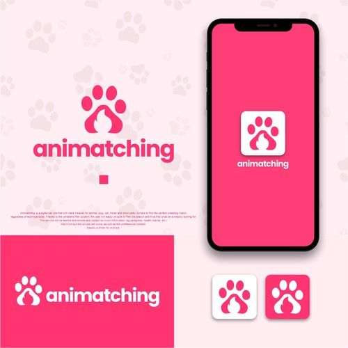 Match logo with the title 'Logo Tinder for animals : Animatching'