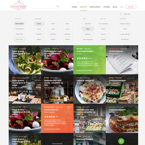 Restaurant website with the title 'Minimalistic and intutiive website for Special Food Corner'
