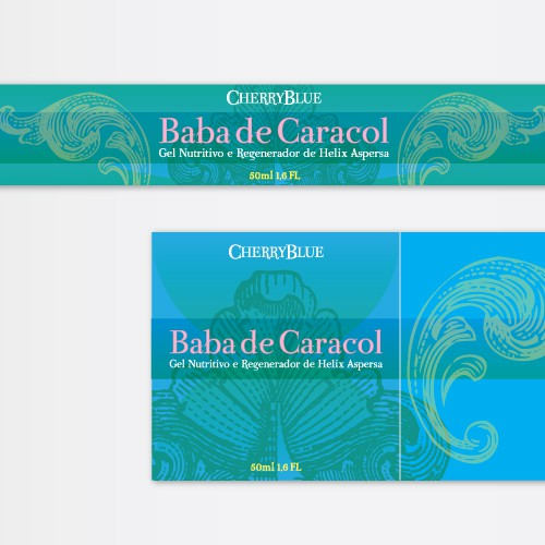 Sea label with the title 'Baba de Caracol beauty cream packaging label'