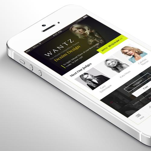 IOS 7 design with the title 'Wantzz IOS app'