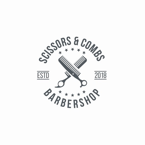 Barber design with the title 'Dual meaning logo of Scissors and Comb'