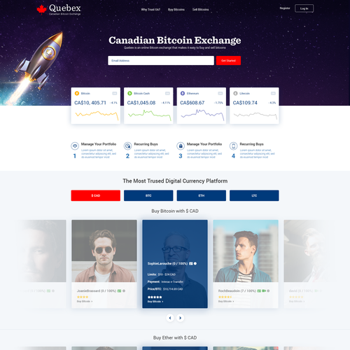 Bitcoin website with the title 'Canadian Bitcoin Exchange Redesign (Quebex)'