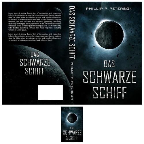 Planet design with the title 'Das Schwartze Schiff book cover'