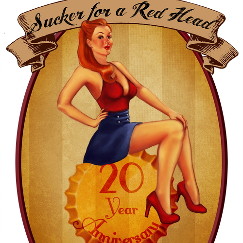 Pin-up girl illustration with the title 'Classy Pin-Up Girl Illistration for Beer Label'