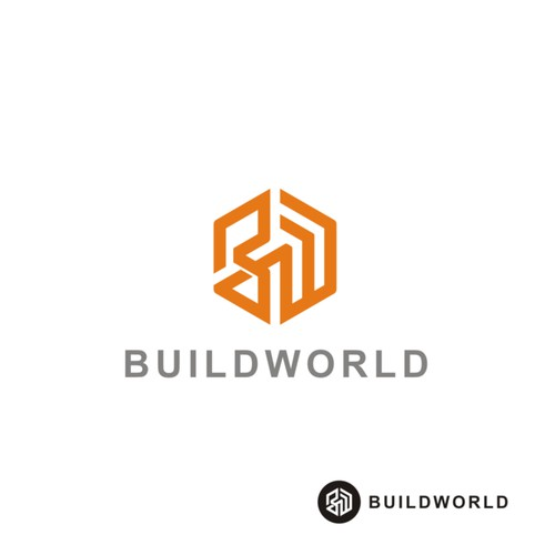 Single line design with the title 'simple geometric logo for a construction company'