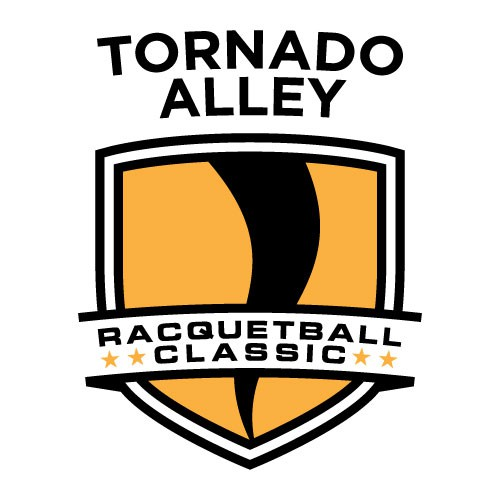 Trophy logo with the title 'Logo for TORNADO ALLEY Racquetball tournament: sports, active, fit, simple graphic'