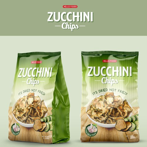 Green packaging with the title 'Packaging Design for Zucchini Chips'