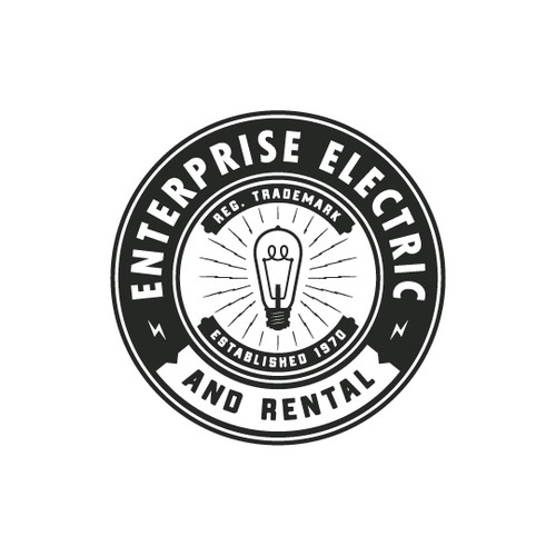 Lightbulb design with the title 'Enterprise Electric and Rental'