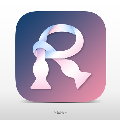 White and pink design with the title 'Elegant R icon for a Social App'