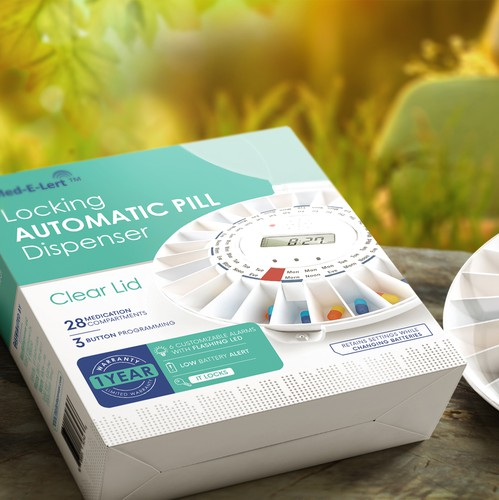 Device design with the title 'Automatic Pill Dispenser, packaging design'