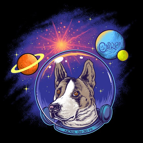 Pet t-shirt with the title 'Nova the space dog'
