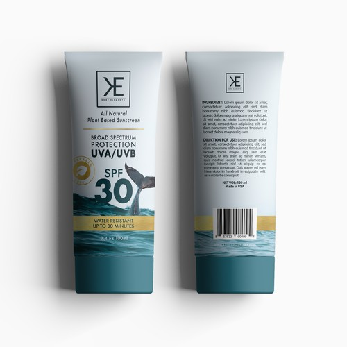 Natural packaging with the title 'KORE ELEMENT NATURAL SUNSCREEN'
