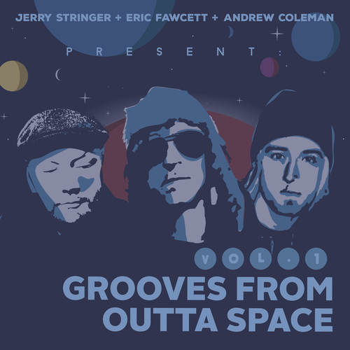 Procreate artwork with the title 'Grooves from outta space'