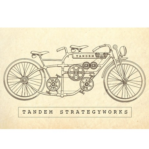 Old illustration with the title 'Ilustration Tandem bycicle'