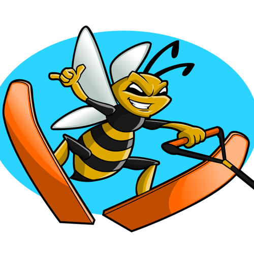 Cool artwork with the title 'Skiing Bee'